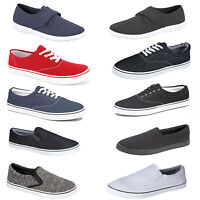 MENS CANVAS SHOES BOYS CASUAL PUMPS LACE UP & SLIP ON RETRO SKATE TRAINERS SIZE