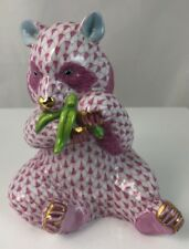 "Herend Porcelain Pink Fishnet Panda Bear. 15348. 5"" High"