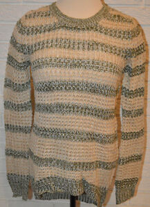 Women's Rue 21 Olive & Tan Stripe Long Sleeve Waffle Knit Sweater Top Size Small