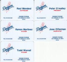(5) 1995 Dodgers Cardwon prototype plastic biz cards Ramon Martinez Raul Mondesi