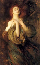Oil painting arthur hacker - autumn young woman in landscape free shipping cost