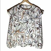 ZARA Women's Chain Print Long Sleeve Blouse Size M