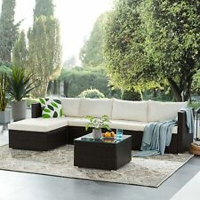 6pcs Outdoor Sectional Furniture Patio PE Wicker Rattan Sofa Set Cushioned Couch