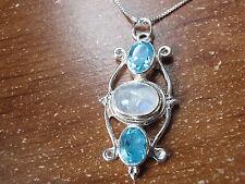 Blue Moonstone Faceted Blue Topaz 925 Sterling Silver Pendant Corona Sun c61ak