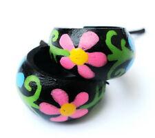 Handmade Unisex Coconut Wood Hoop Pretty Flower Earrings Hippy Surfer Ladies
