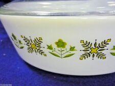 VINTAGE FIRE KING ANCHOR HOCKING MEADOW GREEN  ##21 ROUND COVERED CASSEROLE 2 QT