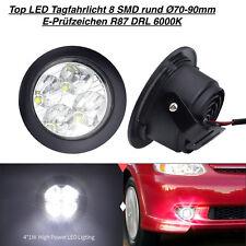 Tagfahrlicht 8 SMD Rund Ø70-90mm E4-Prüfzeichen DRL 6000K  Für Mazda