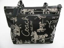 COACH ASHLEY BLACK WHITE CANVASS LEATHER HORSE & CARRIAGE HAND BAG TOTE PURSE