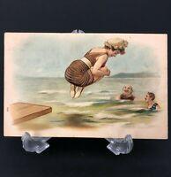 C. 1900s Antique Bathing Beauty Postcard Beach Woman Vtg CANNON BALL Funny Men