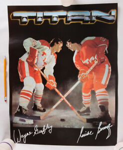 "Vintage Wayne Gretzky and Mike Bossy Titan Hockey Sticks Poster, 22"" x 17"", EX"