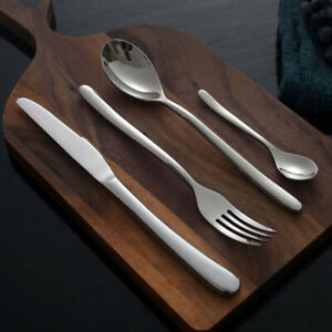 32-Piece Cutlery Set Flatware Stainless Steel Rounded Spoon  Dishwasher Safe