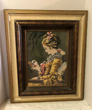Vintage Estate Framed Needlepoint Handmade Picture Art Lady Custom Made Frame