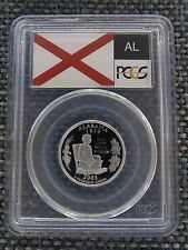 2003-S 25c Alabama SILVER State Flag Label Quarter Proof Coin PCGS PR70DCAM