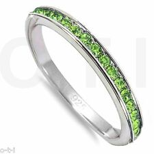 Peridot CZ Crystal Eternity Stackable 925 Sterling Silver Ring Size 3 - 12