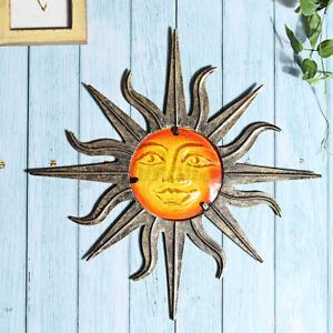Sun Metal Glass Wall Art Miniaturas Outdoor Indoor Home Sculpture Decor Gif