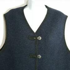 Giesswein Austria Cardigan Vest Boiled Wool Sz 2X Navy Blue Pockets Gray Trim