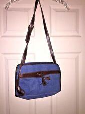 J CREW Denim Tassel Kiltie Handbag Purse CrossBody Saddle Bag UNIQUE Cobalt Blue