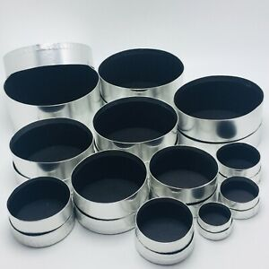 """Lot of 12 IKEA Silver Nested Round Boxes from 1.5"""" to 5.75"""" Diameter 100.331.61"""