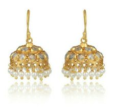 Indian Traditional Handmade Yellow Gold Plated 925 Silver Pearl Jhumka Earrings