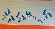 MCM Vintage Leona Caldwell Blue Quail Family Hand Silkscreened on Blue Fabric