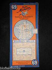 Vintage French Michelin Map of Bourges/Macon (Sheet 69/Carte de France) c1936