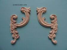 Decorative wooden scroll corners pair furniture moulding appliques onlay D512