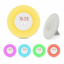 LED Digital Sunrise DESPERTADOR RELOJ RADIO FM Mesita De Noche Color Lámpara GB