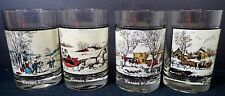 1978 Arby's Collectors Series Currier & Ives Glasses Set of (4) Winter Scenes