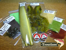 10 PC FLY TYING MATERIALS KIT #3 - THREAD, FEATHERS, HAIR SET STARTER PACK - NEW