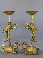 "11"" Chinese Bronze Dragon Turtle Tortoise Crane Candlestick Holder Ruyi Pair NR"