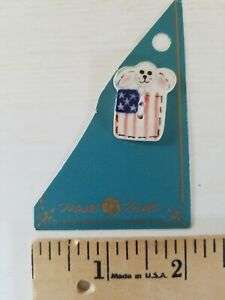 NEW Mill Hill Handmade Ceramic Button for Cross Stitch AMERICAN FLAG BUNNY HARE