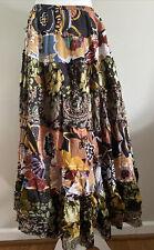 CATO Boho Women Skirt S M Gypsy Maxi Long Cotton Brown Hippie Multicolor Ruffled
