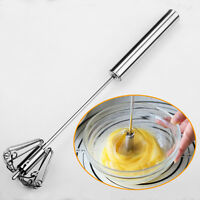1x Manual Self Turng Stainless Steel Miracleush Magic Whisk Mixer Egg Beate I6Y9