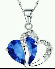 Valentine's Gift for Ladies Women Heart blue  Crystal Amethyst Maxi Statement
