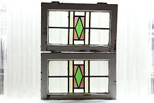 Pair of Antique Stained Glass Windows Three Color Craftsman Style (3026)