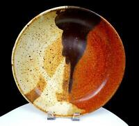 "NEWLANDS SIGNED NORTHWEST ART POTTERY SPECKLED EARTHTONES 11 3/4"" SHALLOW BOWL"