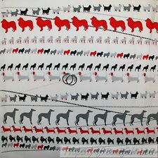 BonEful Fabric FQ Cotton Quilt VTG B&W White Red French POODLE Puppy DOG Stripe