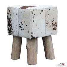 Fell-Hocker Rinderfell Holzfüße Sitzhocker ca. 30x30x45 cm Stierfell Hocker -06