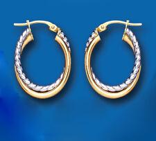 Ovalado Pendientes De Aro Dos Colores Oro Blanco y Amarillo Aros 15 x 24mm