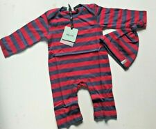 Lilly and Sid Unisex Baby Blue & Red Striped Playsuit & Hat - 3-6 Months
