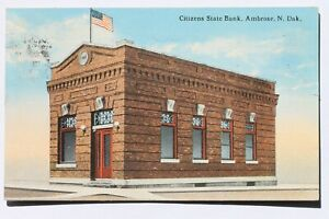 Old postcard CITIZENS STATE BANK, AMBROSE, N.D. NORTH DAKOTA