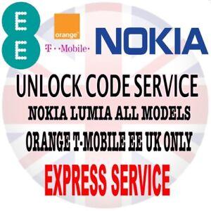 Nokia Lumia 610 625 620 630 635 640 645 650 EE ORANGE T-MOBILE UK UNLOCK CODE