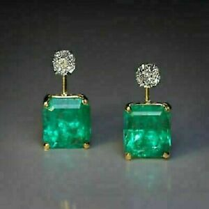 Vintage 4.60Ct Emerald & Diamond 18K Yellow Gold Finish Solitaire Hoop Earring's