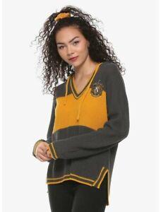 Women's Small Medium Harry Potter Hufflepuff Stripe Hooded Sweater Knit Cardigan