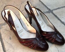 Bally vintage shoes red leather & suede 3,5UK heels slingback reasonable con