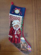 Needlepoint Toys Christmas Stocking Red Velvet Lined in Red Piping Teddy Bear