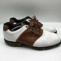 Nike Mens Oxford Golf Shoes White Brown Lace Up Low Top Spikeless 12 M