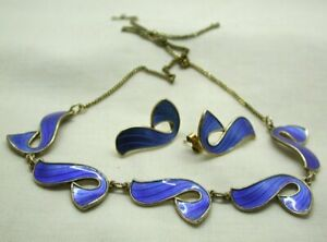 Beautiful Vintage Norwegian Silver And Enamel Necklace & Earrings By Ivor Holth
