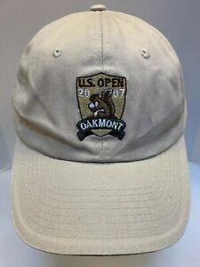 US Open 2007 Oakmont PA Golf Hat Cap USGA Member Men OSFA Tan Khaki Beige