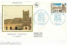 1983**ENVELOPPE SOIE,FDC 1°JOUR!!!**MOSQUEE CHINGUETTI MAURITANIE**TIMBRE Y/T 75